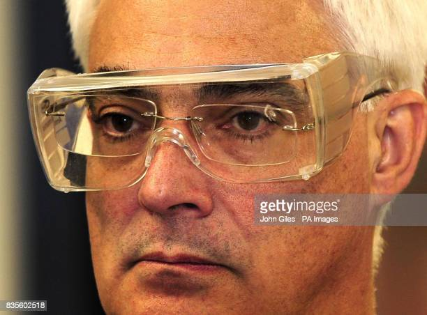 The Chancellor of the Exchequer Alistair Darling wears protective glasses as he visits ITM Power in Sheffield where he drove a hydrogen powered car