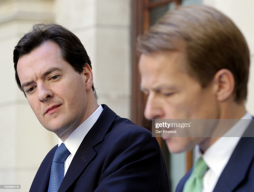 The Chancellor of the Exchequer George Osborne (L) and the Chief Secretary to the Treasury the Rt Hon David Law hold a press conference in the garden of the HM Treasury on May 24, 2010 in London, England. Mr Osborne laid out the conservatives plans to cut £6.2 billion GBP in public spending which will begin later this year.