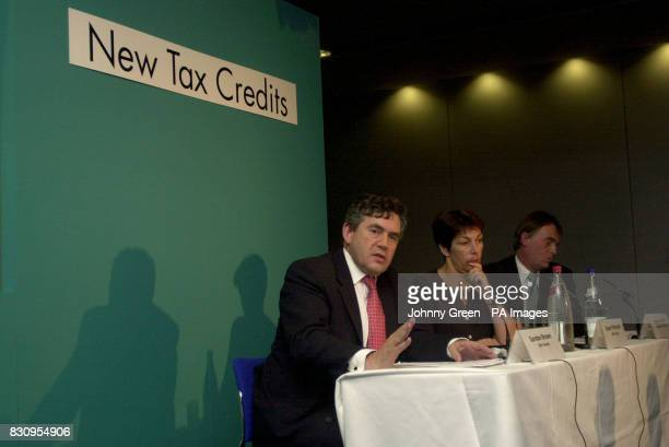 The Chancellor of the Exchequer Gordon Brown is joined by the Secretary of State for Work and Pensions Andrew Smith and the Paymaster General Dawn...