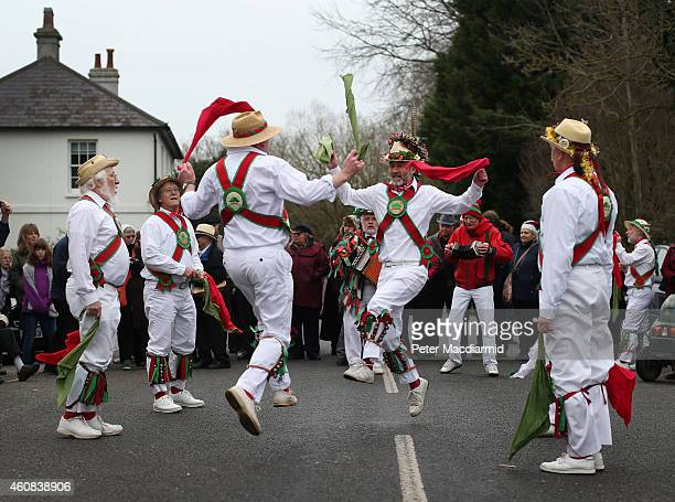 The Chanctonbury Ring Morris Men perform for locals at the Frankland Arms pub on December 26 2014 in Washington England The Morris Men perform...