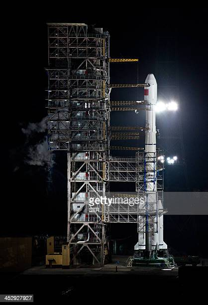 The Chang'e3 rocket carrying the Jade Rabbit rover prior to its launch at the Xichang Satellite Launch Center on December 2 2013 in the southwest...