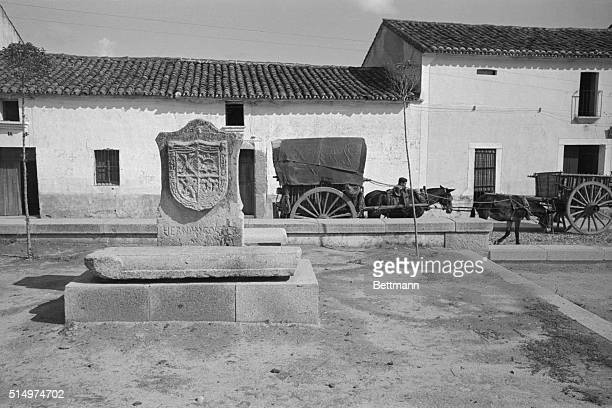 The changeless quality of the land that produced Spain's great conquistadores is revealed in this view of Medillin birthplace of Hernan Cortes who...