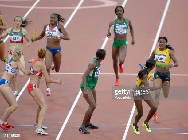 The changeover of the baton during the Women's 4 x 400m Relay Heats on Day 14 of the London 2012 Olympic Games at Olympic Stadium on August 10 2012...