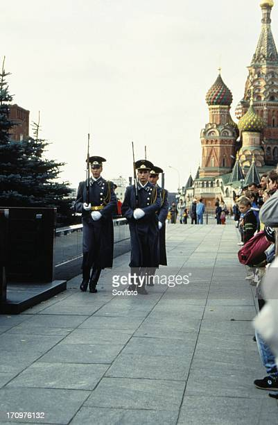 The changing of the guard at lenin's tomb in red square moscow russia 1990s