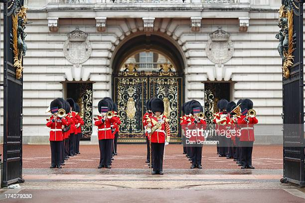 The Changing of the guard band play Congratulations the day after the birth of the son of Prince William Duke of Cambridge and Catherine Duchess of...