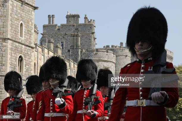 The changing of the guard ceremony takes place at Windsor Castle as it prepares for the wedding of Prince Harry and his fiance US actress Meghan...