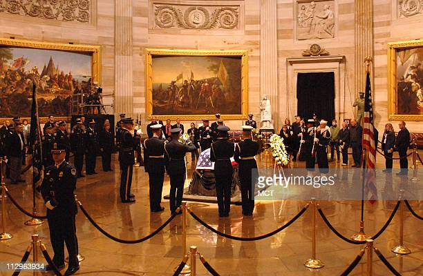The changing of the Honor Guard takes place as the casket of President Gerald R Ford lies in state in the Rotunda of the US Capitol in Washington DC...