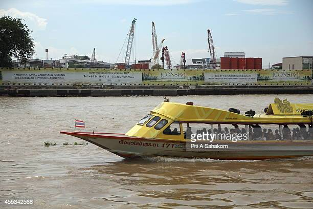 The Chao Phraya Express Boat pass by the construction site of ' Icon Siam ' the biggest community mall project in Thailand The THB 50billion Chao...