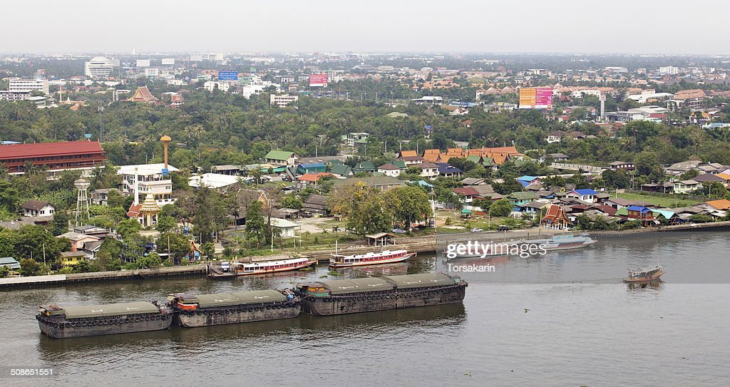 The Chao Phraya River is a major river in Thailand : Stock Photo