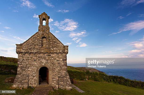 the chapel of our lady and st non (beside st nons chapel) near st davids, pembrokeshire at dusk - chapel stock pictures, royalty-free photos & images