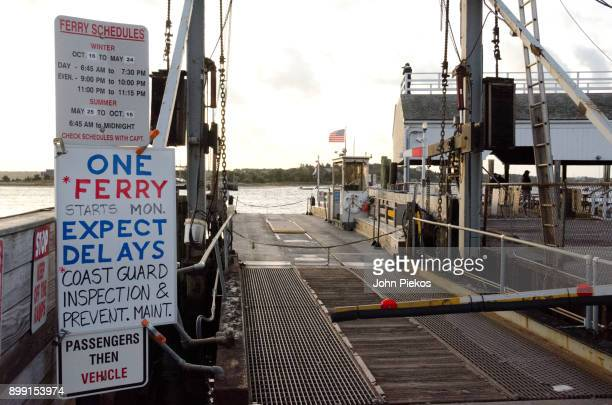 the chappy ferry - one ferry signage - chappaquiddick island stock pictures, royalty-free photos & images
