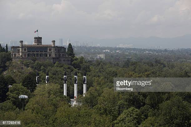 The Chapultepec Castle which houses Mexico's National Museum of History stand behind the Altar of the Homeland in the first section of Chapultepec...