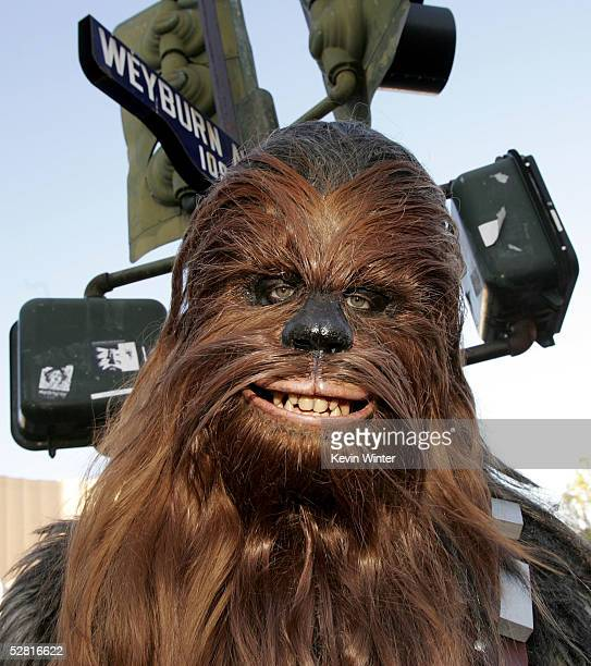 The character Chewbacca arrives at the 'Star Wars Episode III Revenge Of The Sith' Los Angeles Premiere at the Mann Village Theatre on May 12 2005 in...