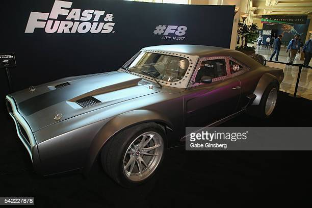 The character Dominic Toretto's 'Ice Charger' from the upcoming movie 'Fast and Furious Fast 8' is displayed at the Licensing Expo 2016 at the...