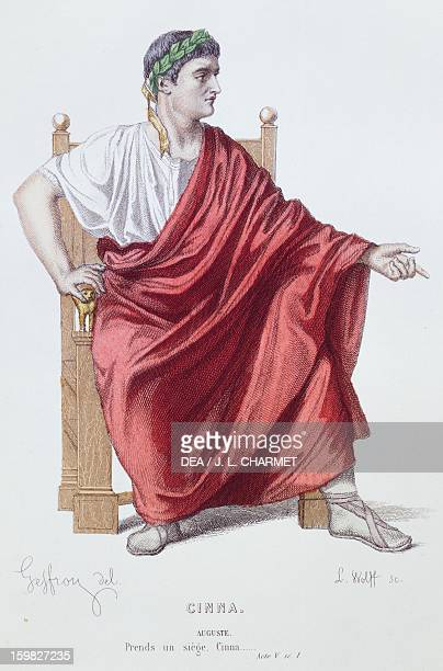 The character of Caesar printed illustration for the 1877 performance of the tragedy Cinna or the clemency of Augustus by Pierre Corneille