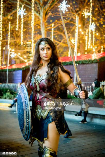 The character Wonder Woman from the Justice League film poses in character outisde the UK premiere during a photocall at The Leicester Square Odeon...