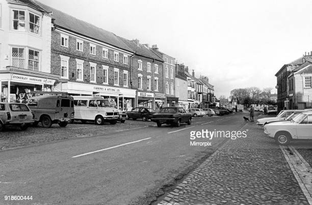 The characteristic cobblestones and building frontages of the main street in Stokesley North Yorkshire Still a market town but for how long 3rd...