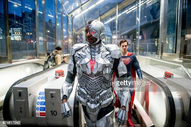 The characters Cyborg and Superman from the Justice League film pose in character on the London Underground during a photocall en route to The...