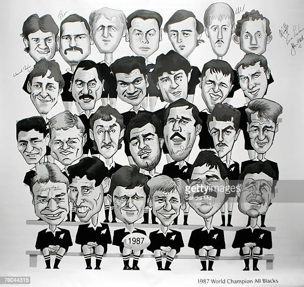 The charactures of the 1987 All Blacks team are seen during a reunion luncheon for members of the 1987 Rugby World Cup Champions All Blacks team at...