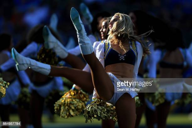 The Charger Girls perform during the game between the Los Angeles Chargers and Cleveland Browns at StubHub Center on December 3 2017 in Carson...