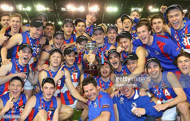 The Chargers celebrate with the premiership cup during the U18 TAC Cup Grand Final match between the Calder Cannons and the Oakleigh Chargers at...