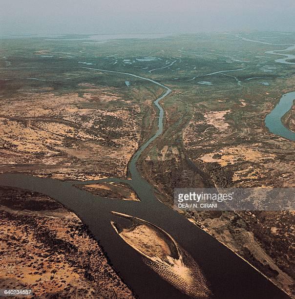 The Chari River near Lake Chad aerial view Chad