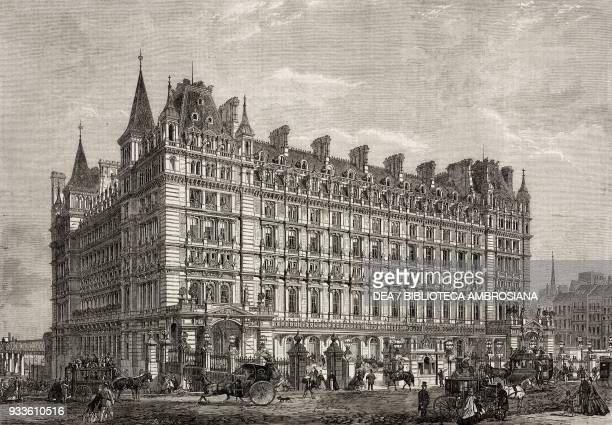 The CharingCross Railway Station and Hotel London England United Kingdom illustration from the magazine The Illustrated London News volume XLIV...