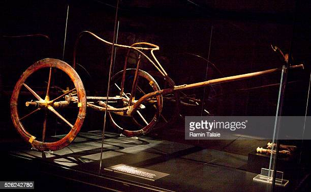 The chariot found in King Tut's tomb the boypharaoh who ruled Egypt more than 3300 years ago is on display at the King Tut exhibition at Discovery...
