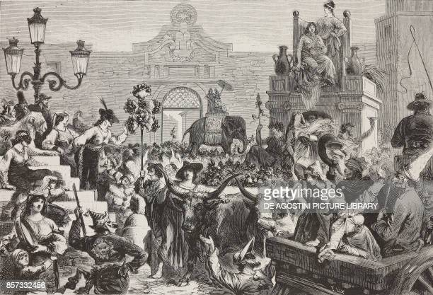 The chariot of Ceres at Porta del Popolo Carnival in Rome Italy illustration by Lafrancie from Nuova illustrazione Universale Year 1 No 14 March 15...