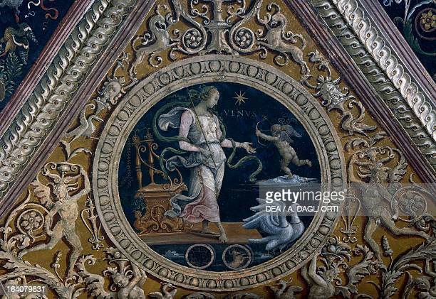 The Chariot of Venus allegory detail from the fresco The Lord with Prophets and Sibyls 14961507 by Pietro Vannucci known as il Perugino College Del...
