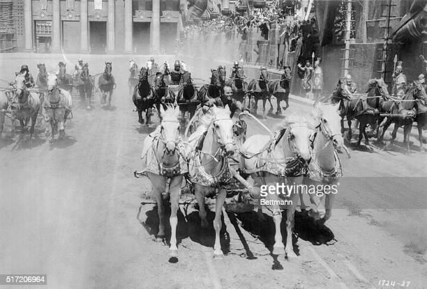 The chariot race from Ben Hur with Charlton Heston Movie still