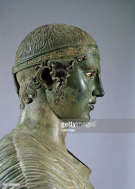 The Charioteer of Delphi also known as Heniokhos Bronze sculpture c470 BC From Delphi Greece National Archaeological Museum Athens