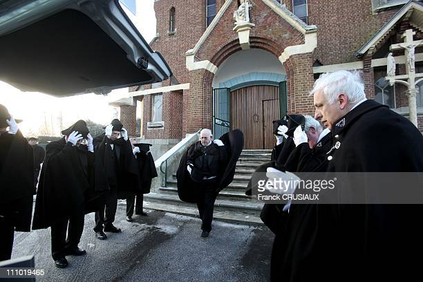 The Charities' Brotherhood of St Eloi in Bethune France in April 2009 The Charitables in front of Saint Vaast's Church of Bethune before a religious...