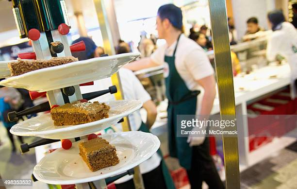 The Charity MakeAWish UK at Fairy's giant bake sale fundraiser at Westfield London on November 21 2015 in London England Hungry punters were invited...