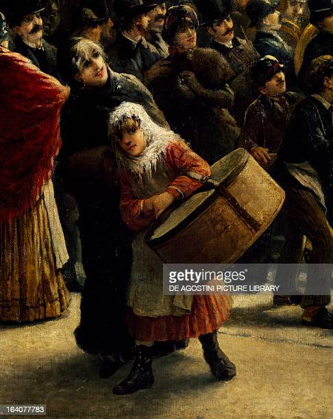 The charity walk in Milan by Giacomo Campi painting Detail