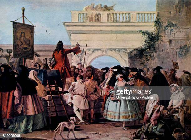 The Charlatan 1755, by Giandomenico Tiepolo, 1727-1804. Oil on canvas. The Charlatan shows a public spectacle in which, all classes of Venetian...