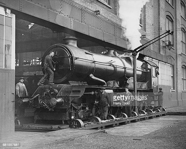 The Charles Collett designed Great Western Railway 6000 Class or King Class 460 steam locomotive No6004 King George III being prepared for launching...