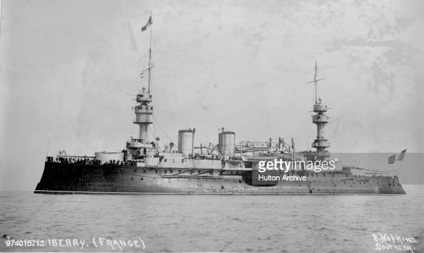 The Charles Martel type predreadnought battleship Le Jaureguiberry of the French Navy Marine Militaire Francaise during manoeuvres in the English...