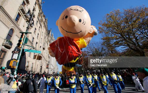 The Charlie Brown balloon floats down Central Park West during the 92nd Annual Macy's Thanksgiving Day Parade on November 22, 2018 in New York City.