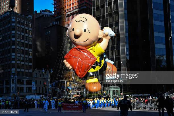 The Charlie Brown balloon floats in Columbus Circle during the 91st Annual Macy's Thanksgiving Day Parade on November 23 2017 in New York City