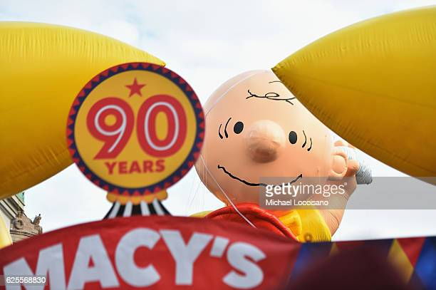The Charlie Brown Balloon floats through the 90th Annual Macy's Thanksgiving Day Parade on November 24, 2016 in New York City.