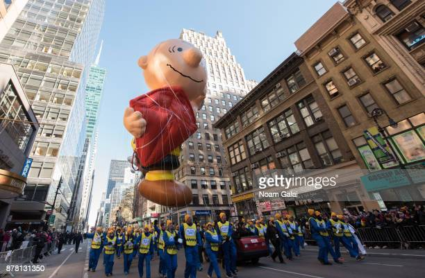 The Charlie Brown balloon is seen at the 91st Annual Macy's Thanksgiving Day Parade on November 23, 2017 in New York City.