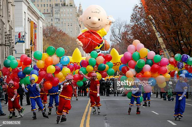 The Charlie Brown balloon leads the Macy's Annual Thanksgiving Day Parade on November 24, 2016 in New York City.