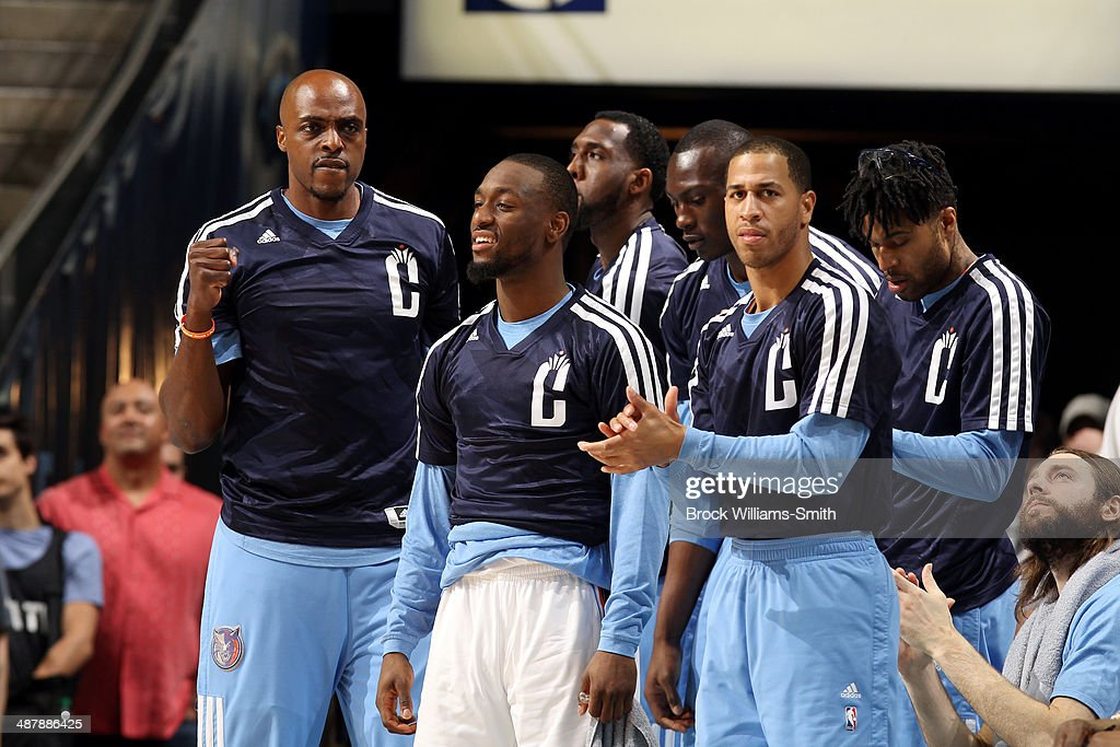 The Charlotte Bobcats celebrate during a game against the Miami Heat in Game Three of the Eastern Conference Quarterfinals of the 2014 NBA playoffs at the Time Warner Cable Arena on April 26, 2014 in Charlotte, North Carolina.