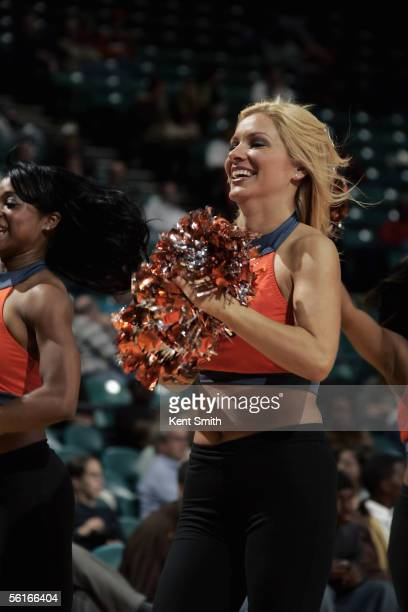 The Charlotte Bobcats dance team performs during the NBA game with the Indiana Pacers on October 26 2005 at the Charlotte Coliseum in Charlotte North...