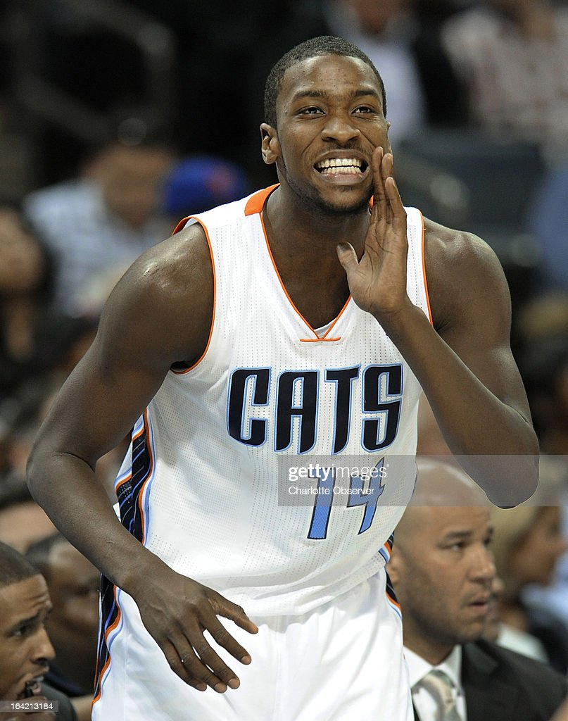 The Charlotte Bobcats' Michael Kidd-Gilchrist yells to a teammate during second-half action against the Toronto Raptors at Time Warner Cable Arena in Charlotte, North Carolina, on Wednesday, March 20, 2013. Charlotte won, 107-101.