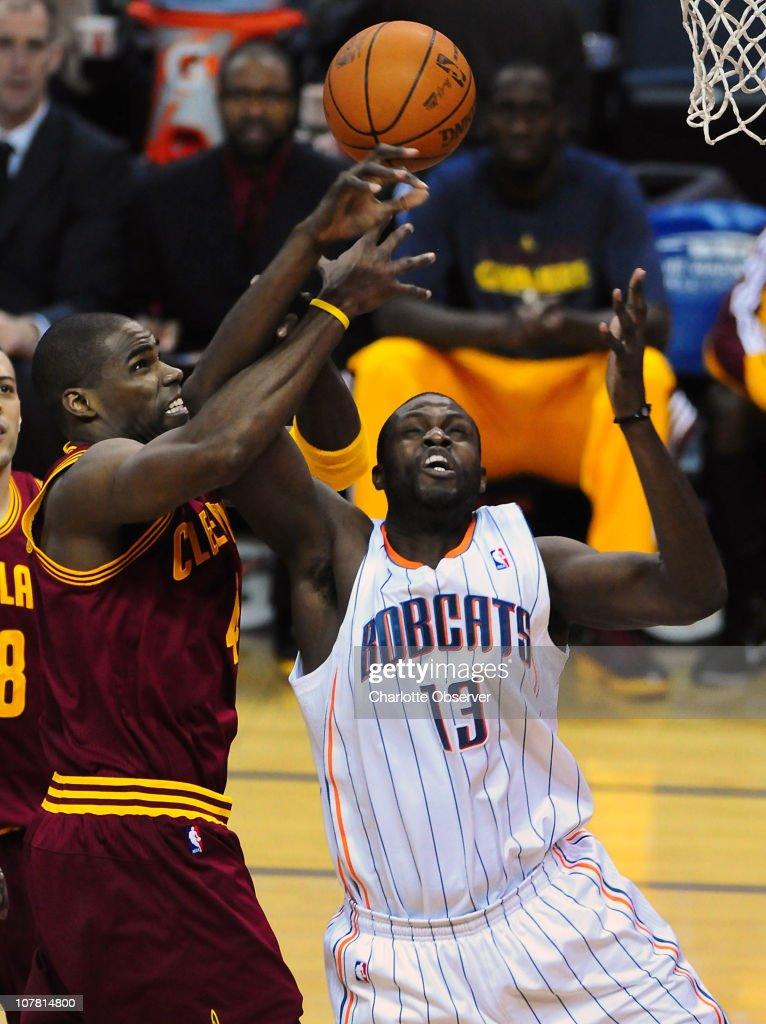 The Charlotte Bobcats' Nazr Mohammed (13) fights for control of a rebound with the Cleveland Cavaliers' Antawn Jamison in second-half action at Time Warner Cable Arena in Charlotte, North Carolina, on Wednesday, December 29, 2010. Charlotte defeated Cleveland, 101-92.