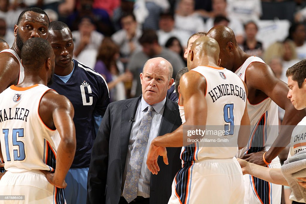 The Charlotte Bobcats talk during a game against the Miami Heat in Game Three of the Eastern Conference Quarterfinals of the 2014 NBA playoffs at the Time Warner Cable Arena on April 26, 2014 in Charlotte, North Carolina.