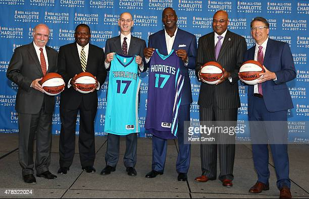 The Charlotte Hornets announce the 2017 AllStar game at the Time Warner Cable Arena on June 23 2015 in Charlotte North Carolina NOTE TO USER User...