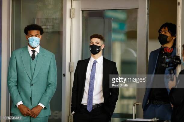 The Charlotte Hornets announce their draft picks during a press conference at Spectrum Center on November 20 in Charlotte North Carolina NOTE TO USER...